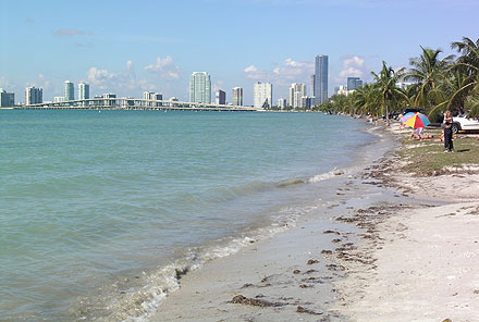 Above Virginia Key Beach With Rickenbacker Causeway And Miami In The Background Hobie Is On Other Side Of